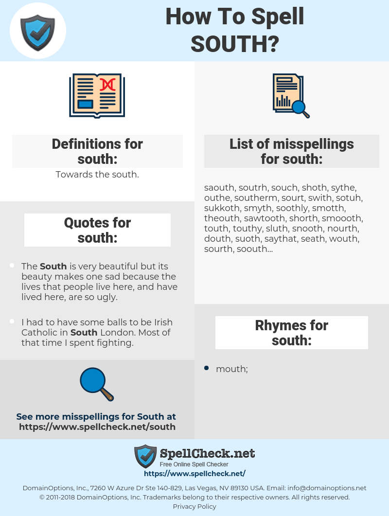 south, spellcheck south, how to spell south, how do you spell south, correct spelling for south