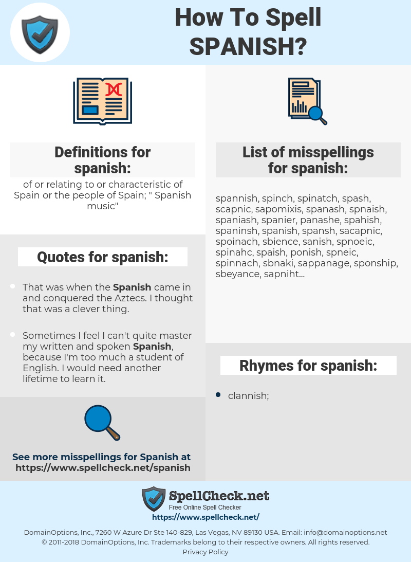 spanish, spellcheck spanish, how to spell spanish, how do you spell spanish, correct spelling for spanish