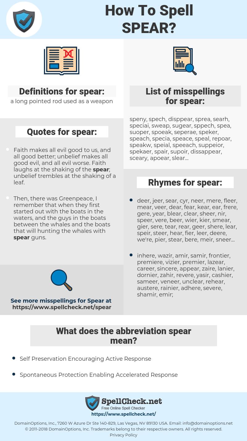 spear, spellcheck spear, how to spell spear, how do you spell spear, correct spelling for spear