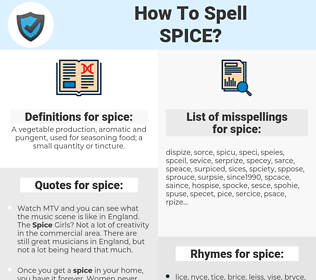 spice, spellcheck spice, how to spell spice, how do you spell spice, correct spelling for spice