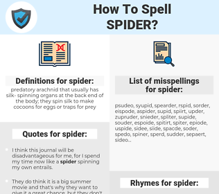spider, spellcheck spider, how to spell spider, how do you spell spider, correct spelling for spider