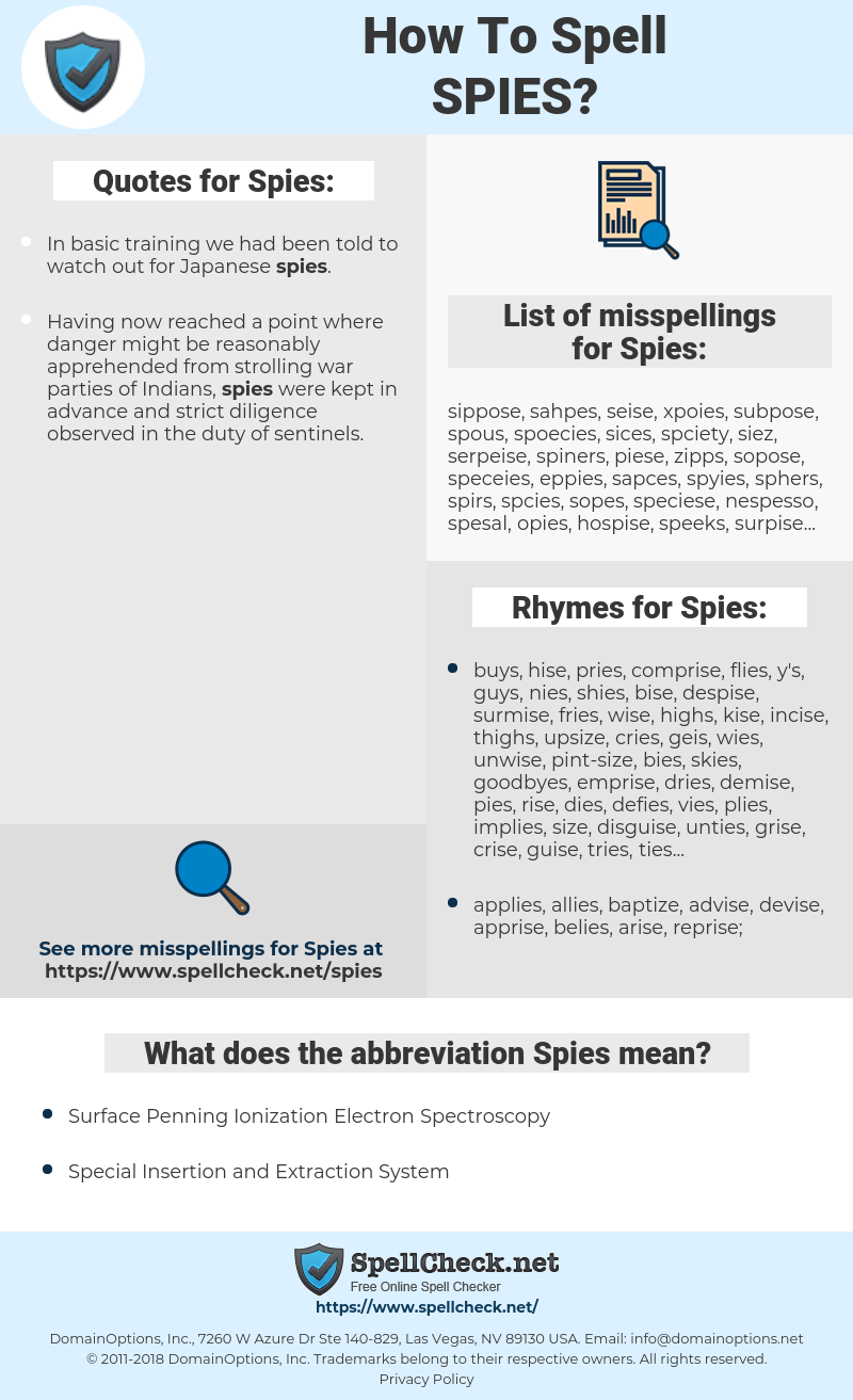 Spies, spellcheck Spies, how to spell Spies, how do you spell Spies, correct spelling for Spies