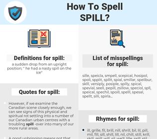 spill, spellcheck spill, how to spell spill, how do you spell spill, correct spelling for spill