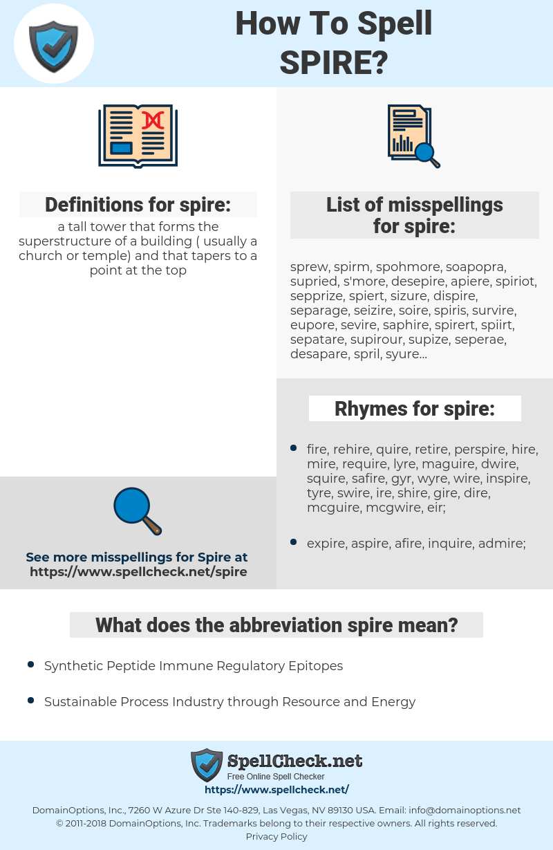 spire, spellcheck spire, how to spell spire, how do you spell spire, correct spelling for spire