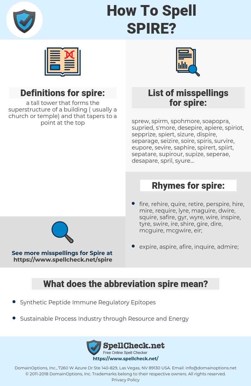 spire, spellcheck spire, how to spell spire, how do you spell spire, correct spelling for spire