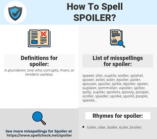 spoiler, spellcheck spoiler, how to spell spoiler, how do you spell spoiler, correct spelling for spoiler