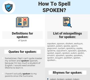 spoken, spellcheck spoken, how to spell spoken, how do you spell spoken, correct spelling for spoken