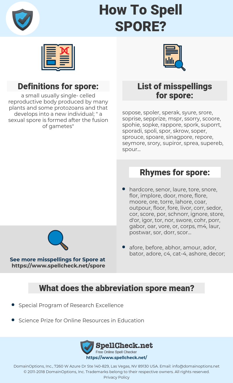 spore, spellcheck spore, how to spell spore, how do you spell spore, correct spelling for spore