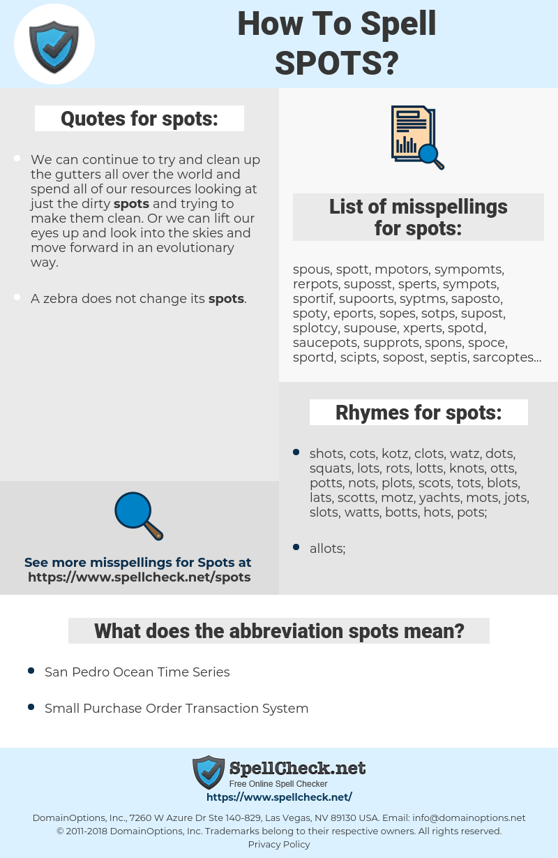spots, spellcheck spots, how to spell spots, how do you spell spots, correct spelling for spots
