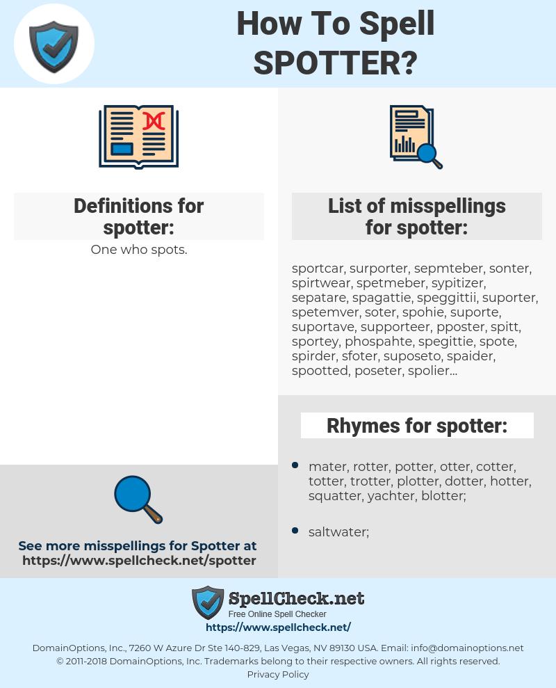 spotter, spellcheck spotter, how to spell spotter, how do you spell spotter, correct spelling for spotter