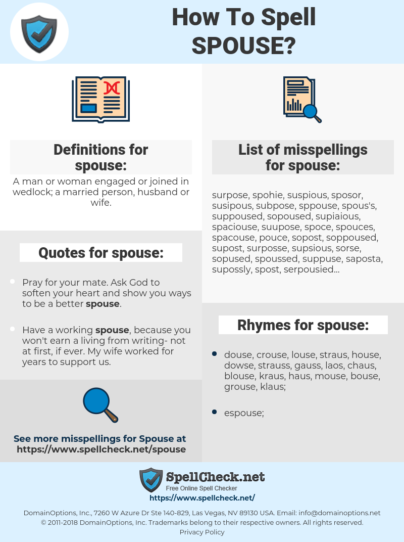 spouse, spellcheck spouse, how to spell spouse, how do you spell spouse, correct spelling for spouse