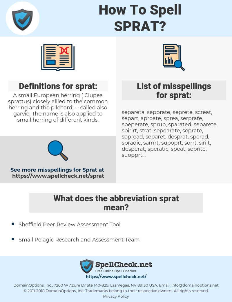 sprat, spellcheck sprat, how to spell sprat, how do you spell sprat, correct spelling for sprat