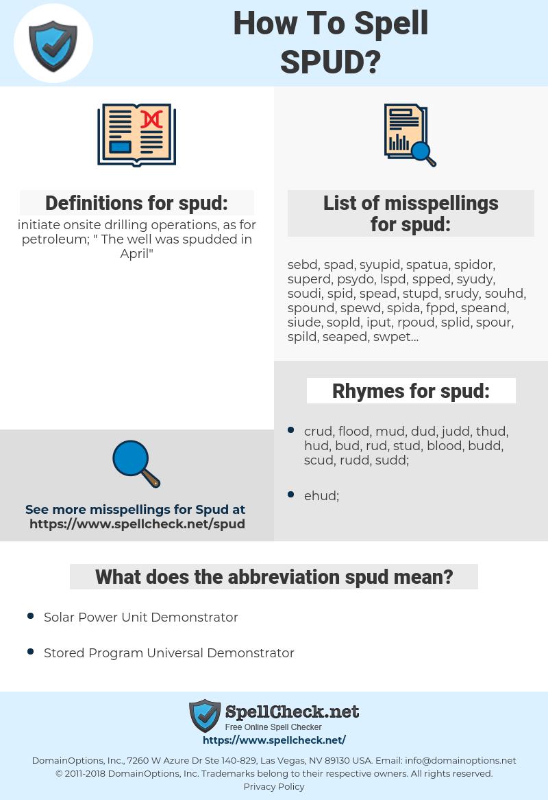 spud, spellcheck spud, how to spell spud, how do you spell spud, correct spelling for spud