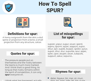 spur, spellcheck spur, how to spell spur, how do you spell spur, correct spelling for spur