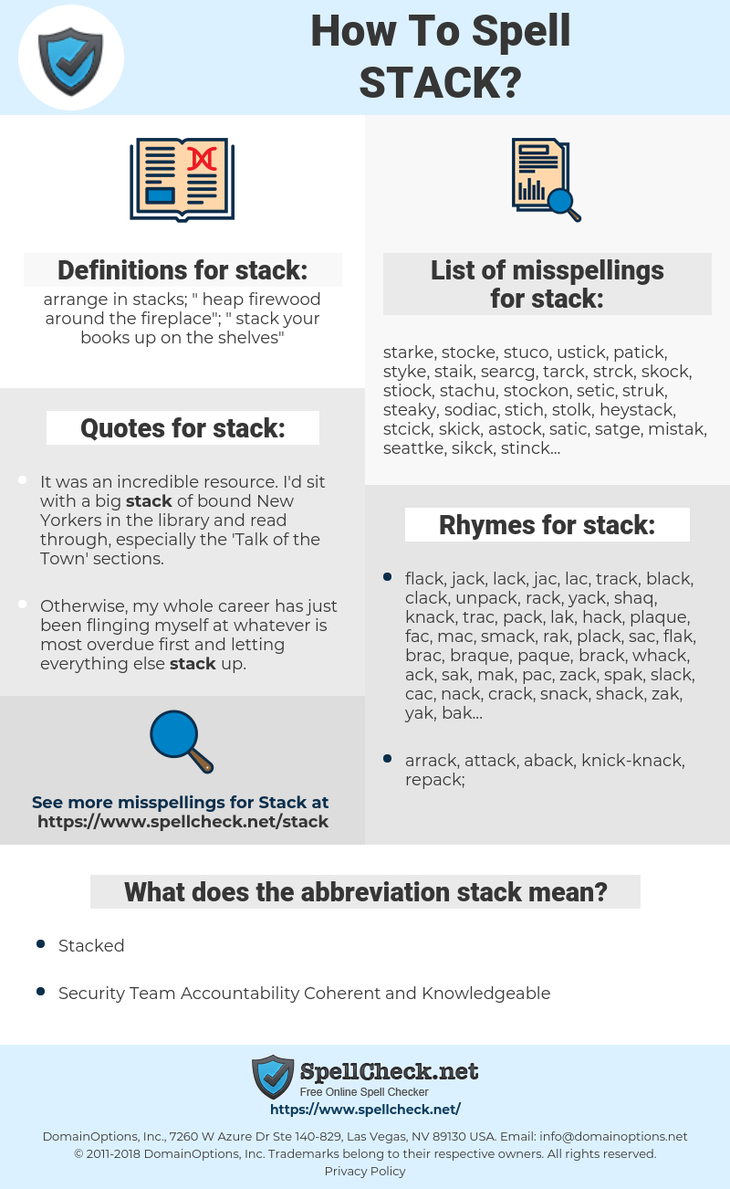 stack, spellcheck stack, how to spell stack, how do you spell stack, correct spelling for stack