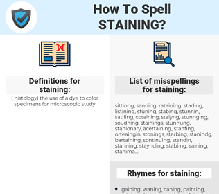 staining, spellcheck staining, how to spell staining, how do you spell staining, correct spelling for staining
