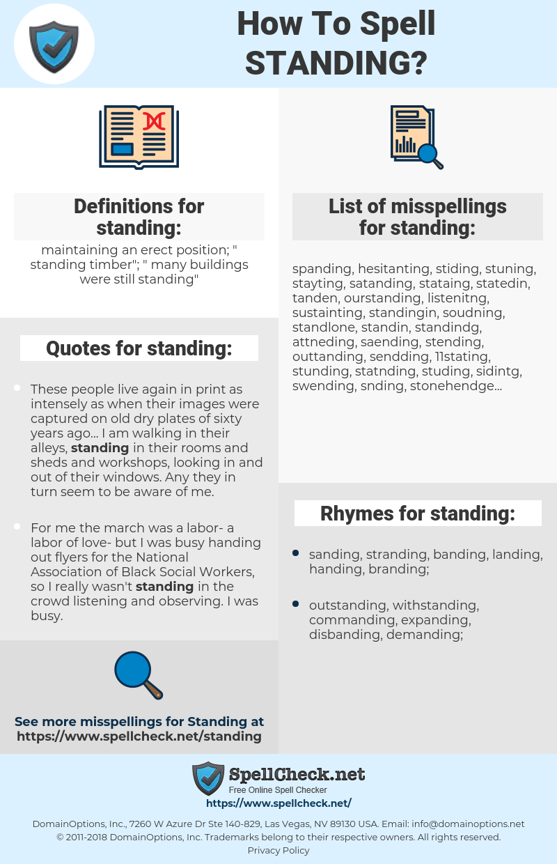 standing, spellcheck standing, how to spell standing, how do you spell standing, correct spelling for standing