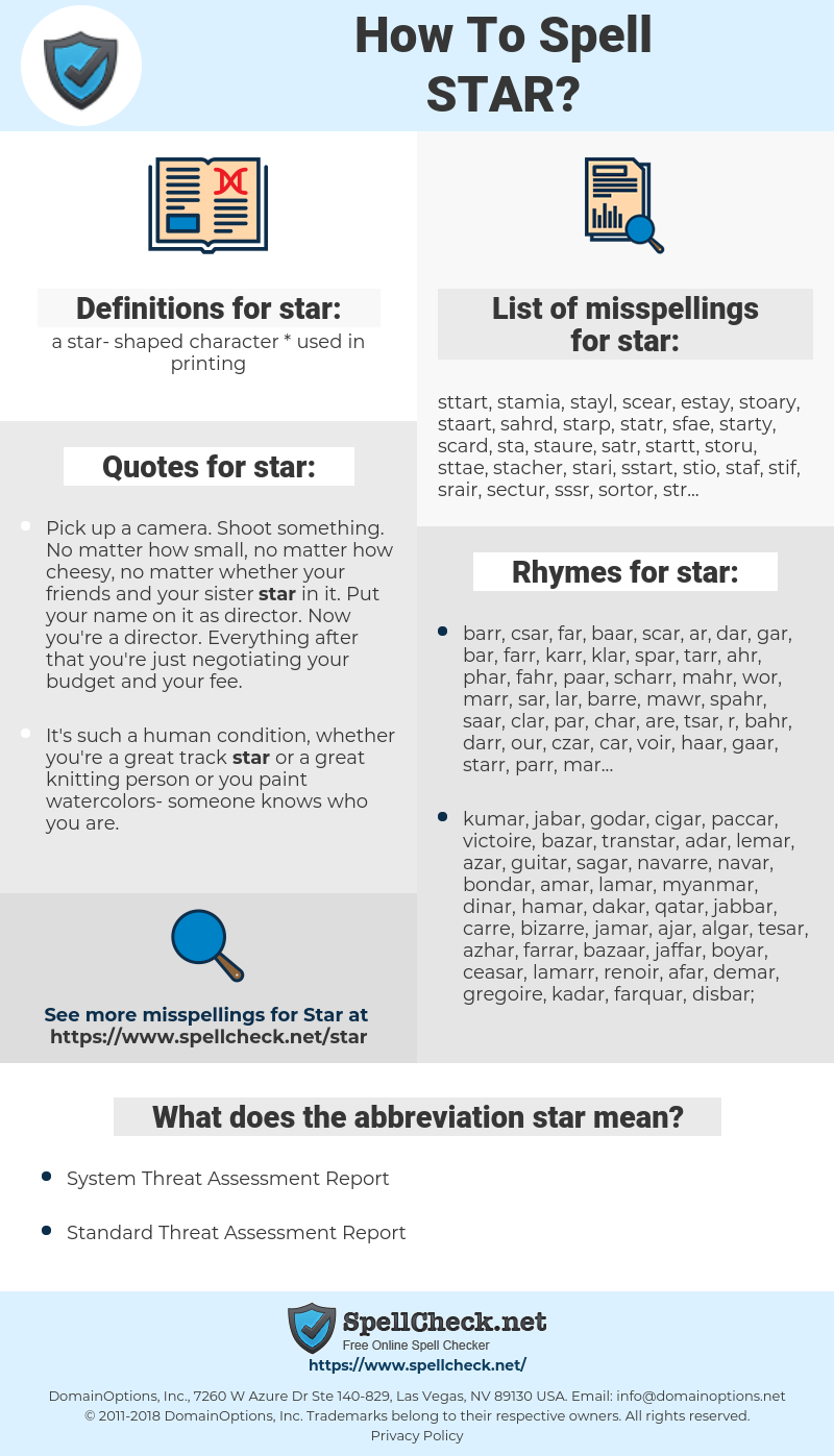 star, spellcheck star, how to spell star, how do you spell star, correct spelling for star