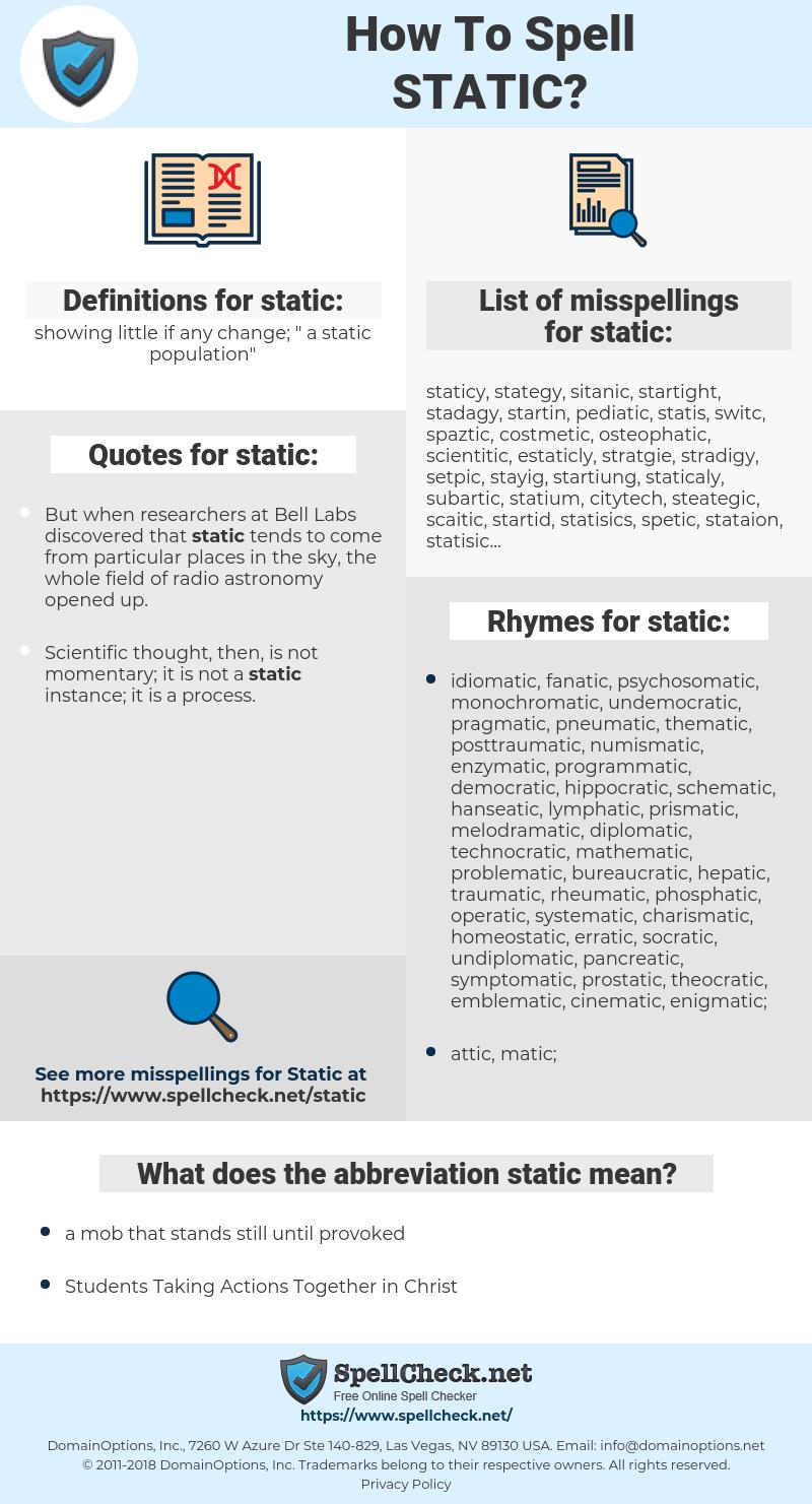static, spellcheck static, how to spell static, how do you spell static, correct spelling for static