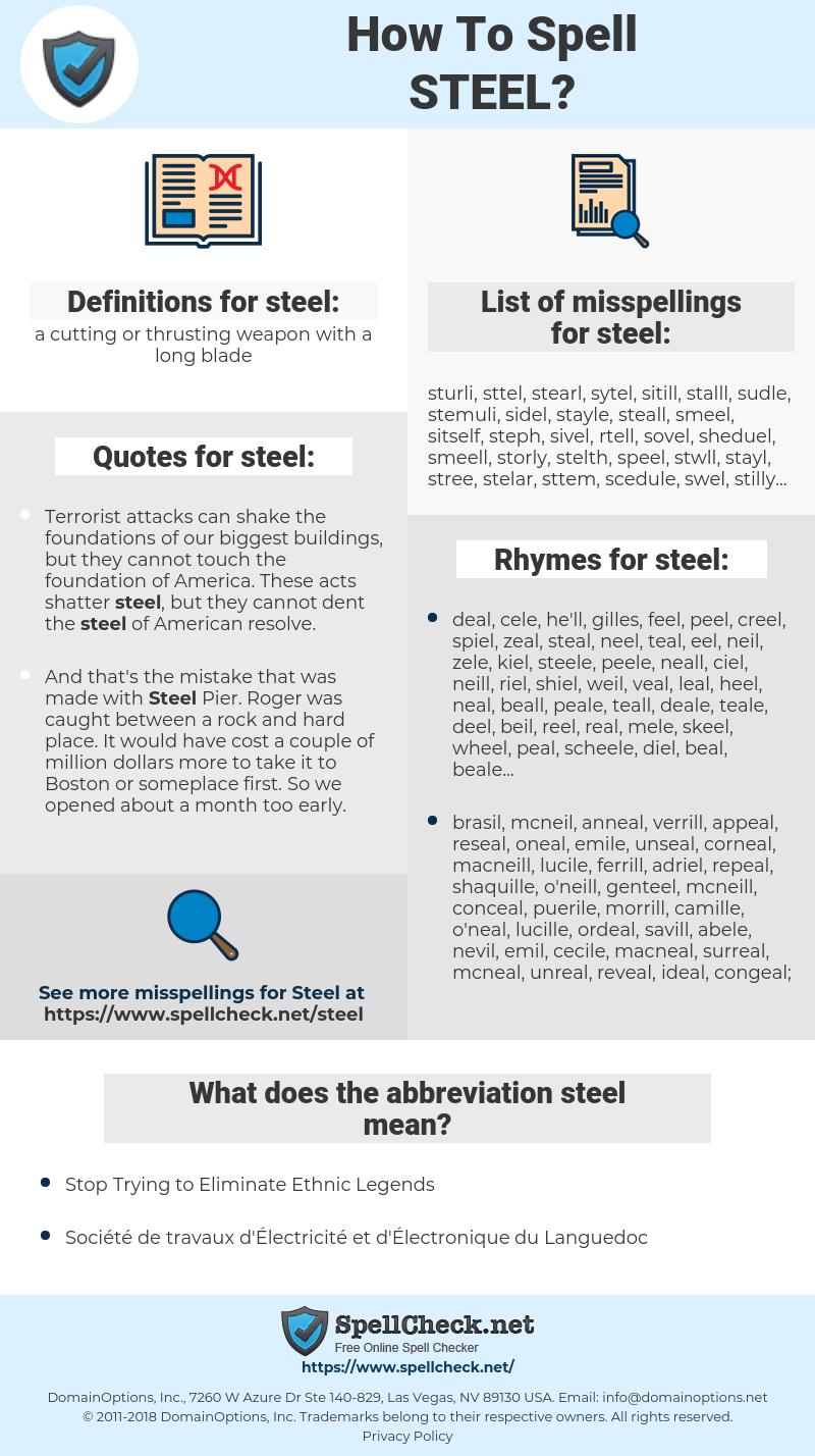 steel, spellcheck steel, how to spell steel, how do you spell steel, correct spelling for steel