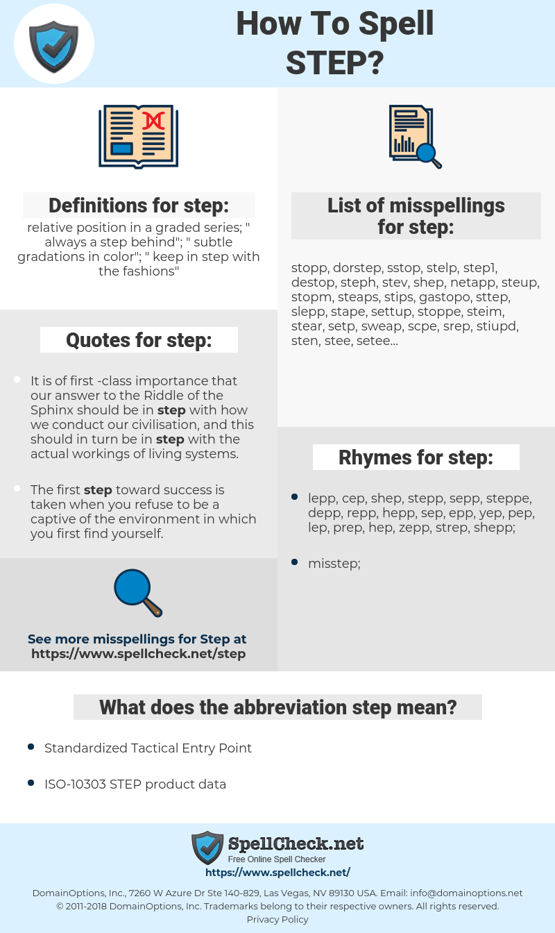 step, spellcheck step, how to spell step, how do you spell step, correct spelling for step
