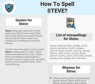 Steve, spellcheck Steve, how to spell Steve, how do you spell Steve, correct spelling for Steve