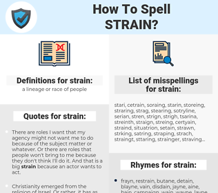 strain, spellcheck strain, how to spell strain, how do you spell strain, correct spelling for strain