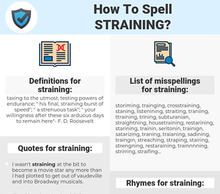 straining, spellcheck straining, how to spell straining, how do you spell straining, correct spelling for straining