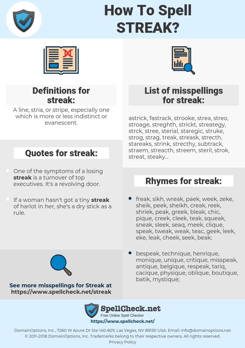 streak, spellcheck streak, how to spell streak, how do you spell streak, correct spelling for streak
