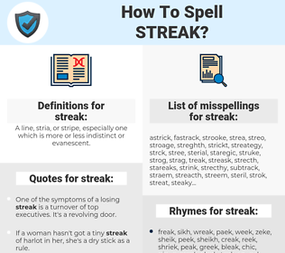 streak, spellcheck streak, how to spell streak, how do you spell streak, correct spelling for streak
