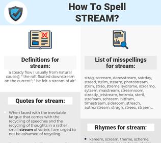 stream, spellcheck stream, how to spell stream, how do you spell stream, correct spelling for stream