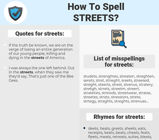 streets, spellcheck streets, how to spell streets, how do you spell streets, correct spelling for streets