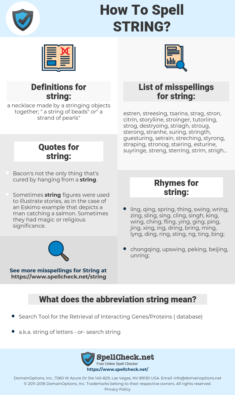 string, spellcheck string, how to spell string, how do you spell string, correct spelling for string