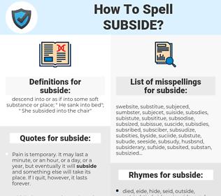 subside, spellcheck subside, how to spell subside, how do you spell subside, correct spelling for subside