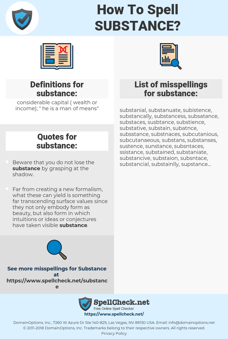substance, spellcheck substance, how to spell substance, how do you spell substance, correct spelling for substance