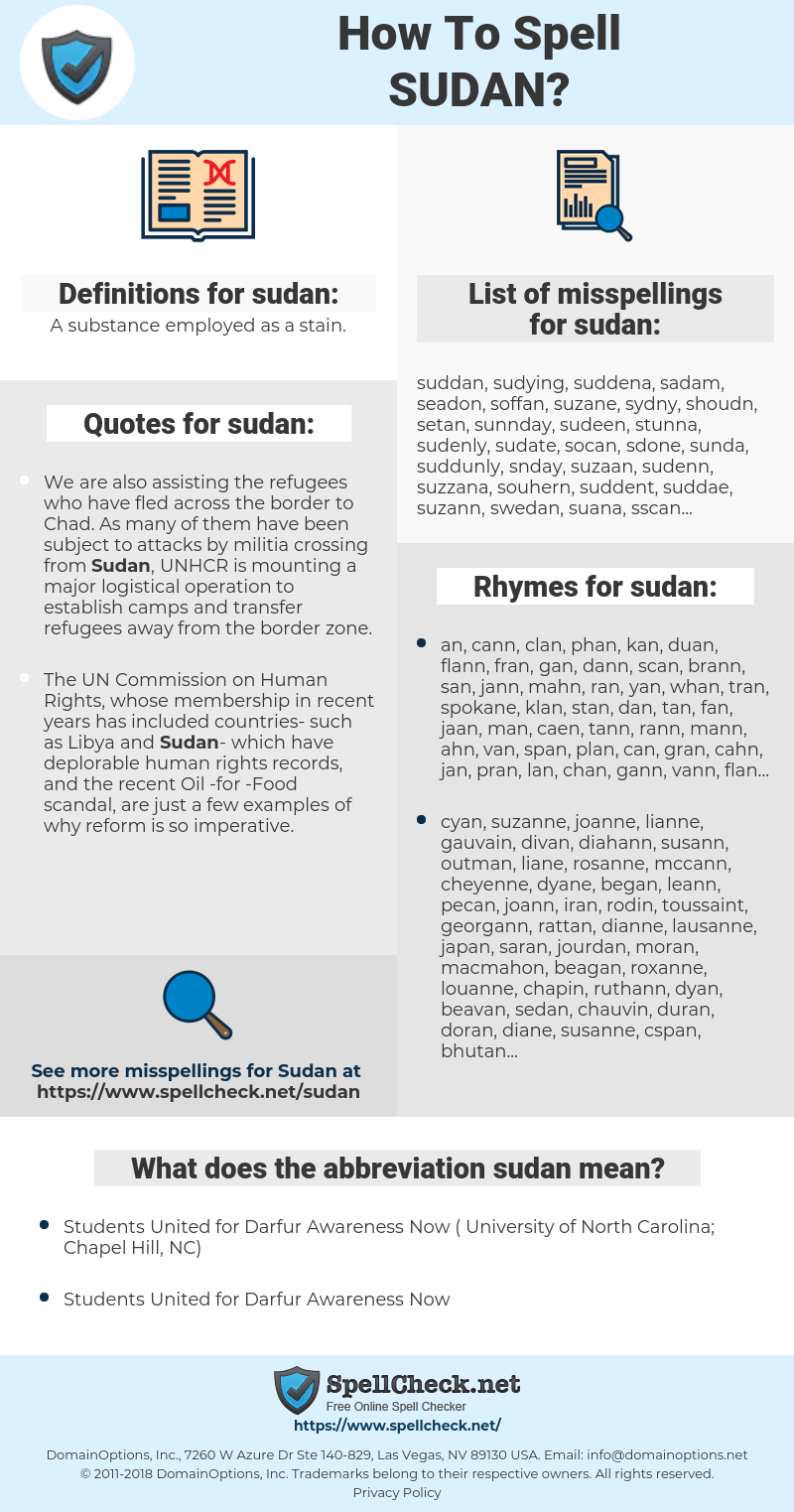 sudan, spellcheck sudan, how to spell sudan, how do you spell sudan, correct spelling for sudan