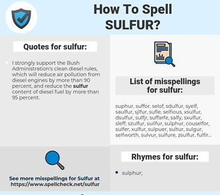 sulfur, spellcheck sulfur, how to spell sulfur, how do you spell sulfur, correct spelling for sulfur