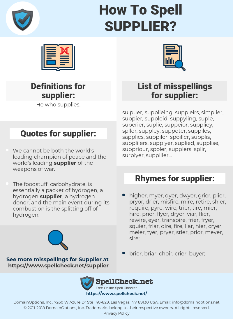 supplier, spellcheck supplier, how to spell supplier, how do you spell supplier, correct spelling for supplier
