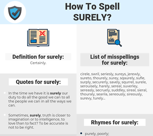 surely, spellcheck surely, how to spell surely, how do you spell surely, correct spelling for surely