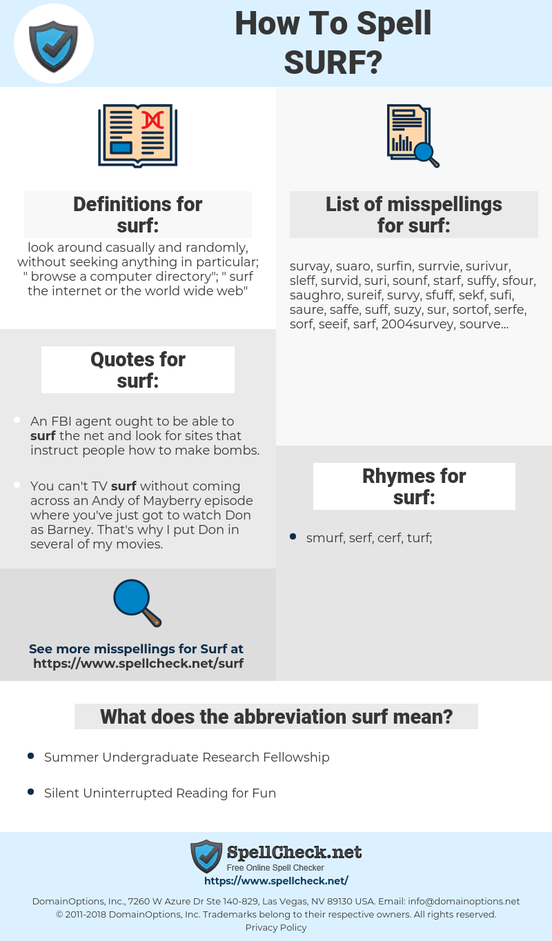 surf, spellcheck surf, how to spell surf, how do you spell surf, correct spelling for surf