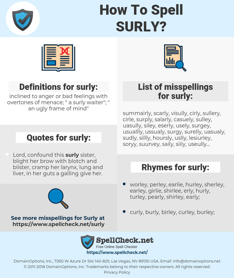 surly, spellcheck surly, how to spell surly, how do you spell surly, correct spelling for surly