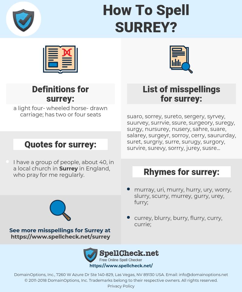 surrey, spellcheck surrey, how to spell surrey, how do you spell surrey, correct spelling for surrey