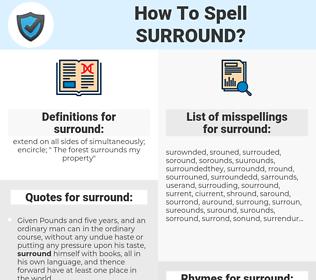 surround, spellcheck surround, how to spell surround, how do you spell surround, correct spelling for surround