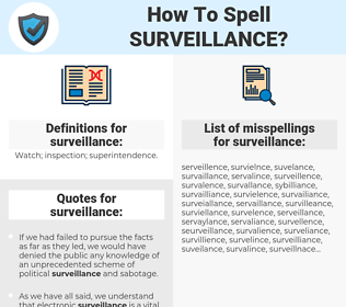 surveillance, spellcheck surveillance, how to spell surveillance, how do you spell surveillance, correct spelling for surveillance