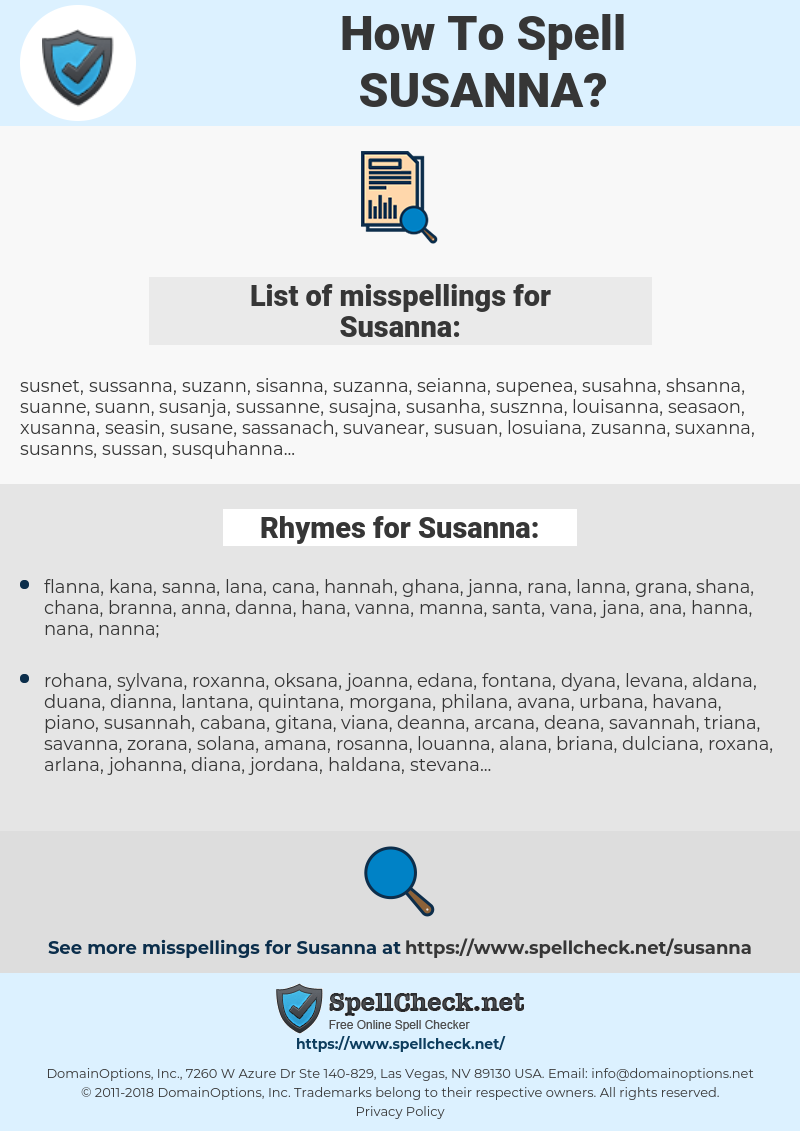 Susanna, spellcheck Susanna, how to spell Susanna, how do you spell Susanna, correct spelling for Susanna