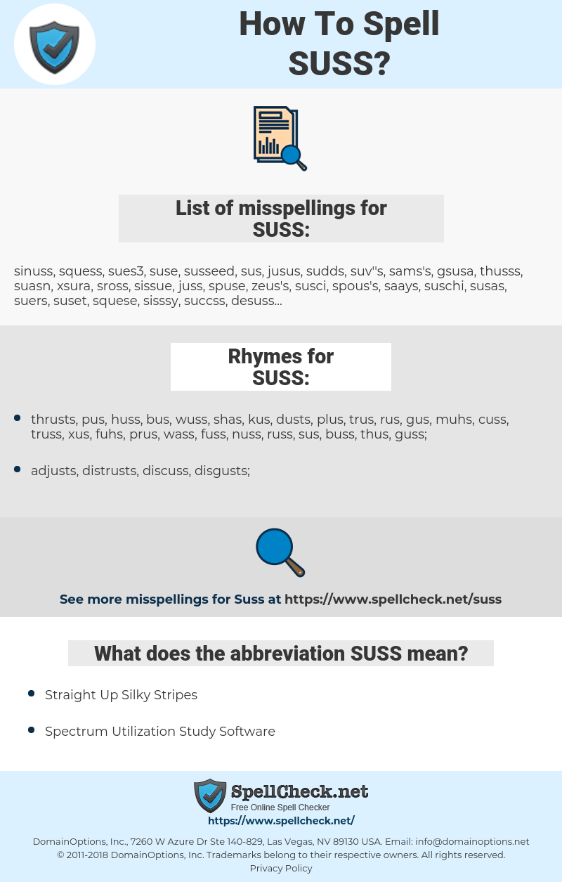 SUSS, spellcheck SUSS, how to spell SUSS, how do you spell SUSS, correct spelling for SUSS