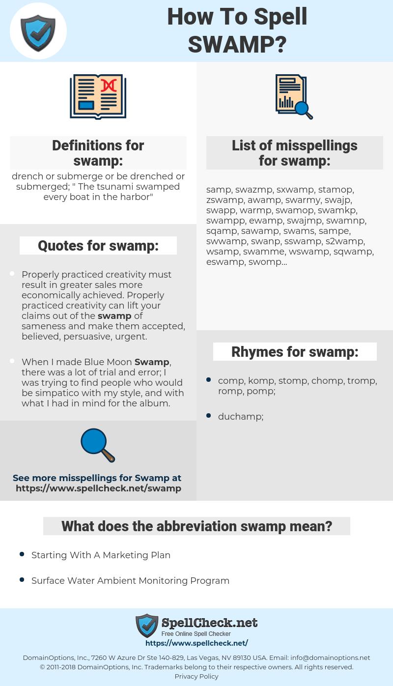swamp, spellcheck swamp, how to spell swamp, how do you spell swamp, correct spelling for swamp