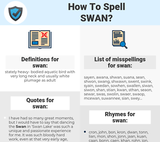 swan, spellcheck swan, how to spell swan, how do you spell swan, correct spelling for swan