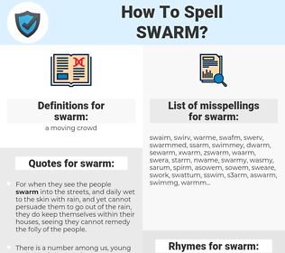 swarm, spellcheck swarm, how to spell swarm, how do you spell swarm, correct spelling for swarm