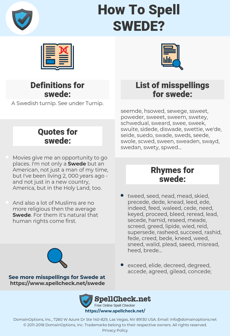swede, spellcheck swede, how to spell swede, how do you spell swede, correct spelling for swede